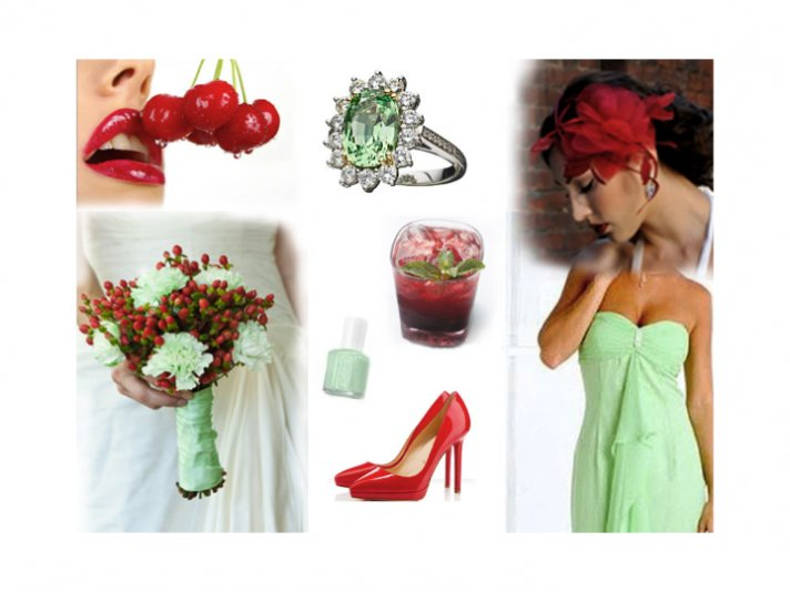 Mint green and bright cherry wedding color palette for your summer wedding