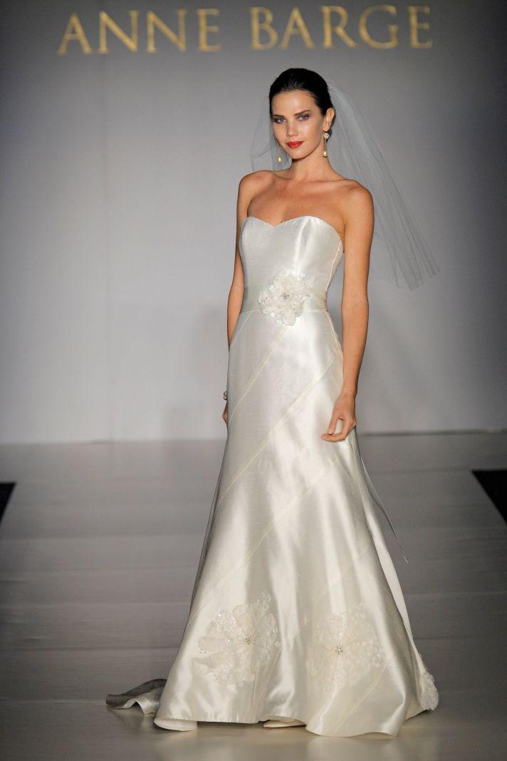 Simple diamond white silk mikado sweetheart neckline modified mermaid wedding dress by Anne Barge