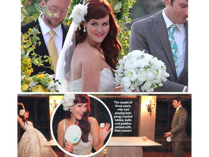 Comedic actress and Jenny Craig spokeswoman Sara Rue ties the knot in Amsale wedding dress