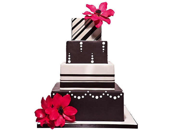 Square Western Wedding Cake With Brown Flowers