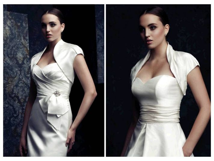 Stunning ivory silk cap sleeve bridal boleros