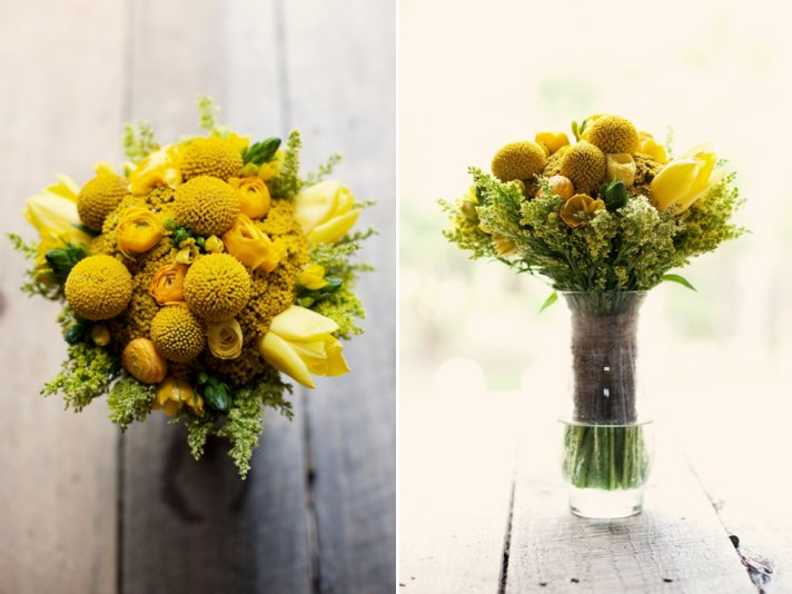 Lemon charcoal navy rustic real wedding hannah and marc bright yellow spring wedding flowers and bridesmaid bouquet mightylinksfo