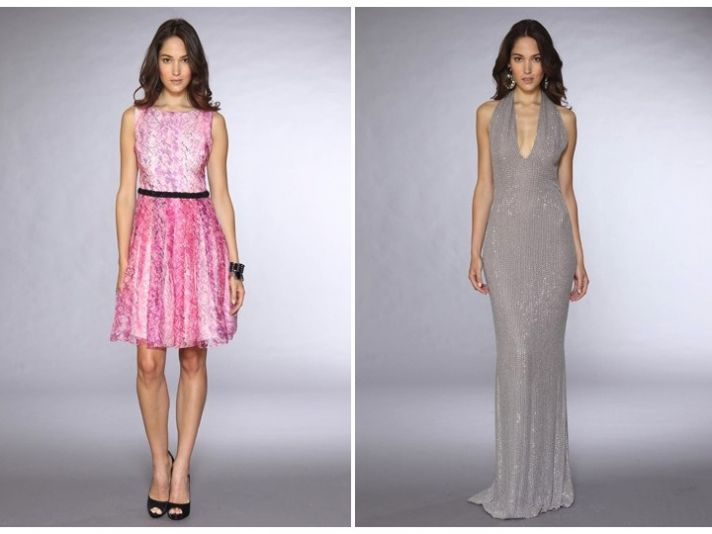 Feminine pink bateau neck above-the-knee wedding reception dress and metallic silver mermaid gown