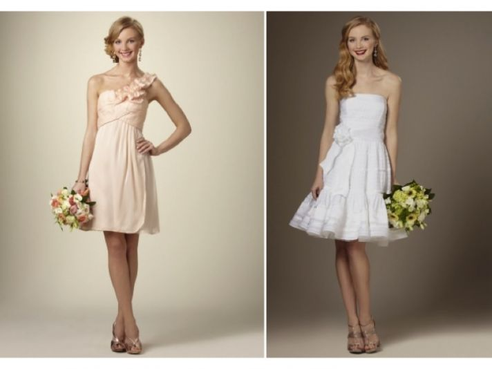 Adorable above-the-knee white and blush pink wedding reception frocks