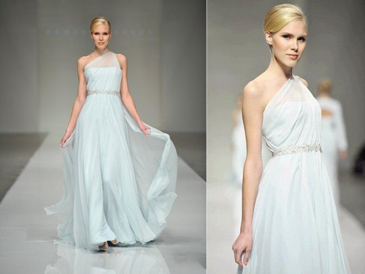 Pastel blue one-shoulder Romona Keveza wedding dress
