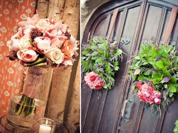 Romantic pastel bridal bouquet and coral wedding flower arrangements on ceremony venue door
