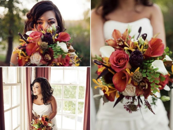 Outdoor DIY fall wedding in North Carolina with hanging lanterns as decor
