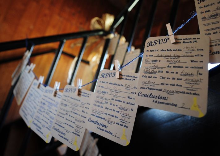 Unique wedding escort card idea for wedding reception- guest RSVPs hanging on clothes line