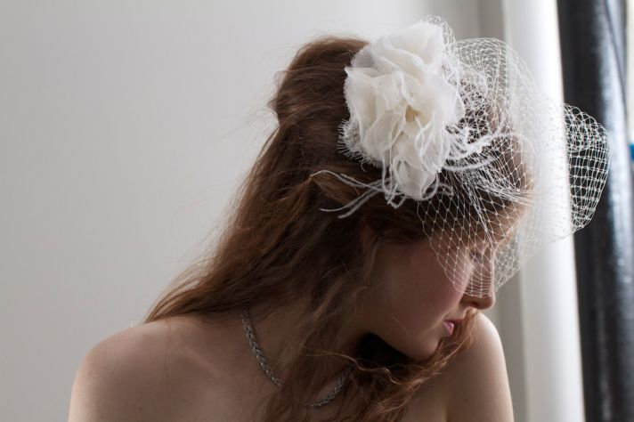 French net bridal veil by couture milliner and BHLDN