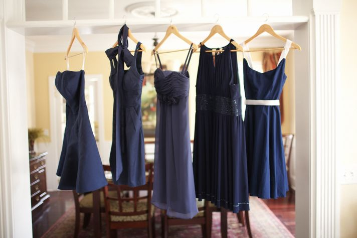Mix and match navy blue bridesmaids' dresses