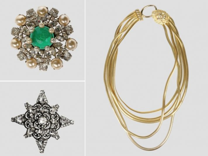 Vintage bridal brooches and statement bridal necklace by Kenneth Jay Lane