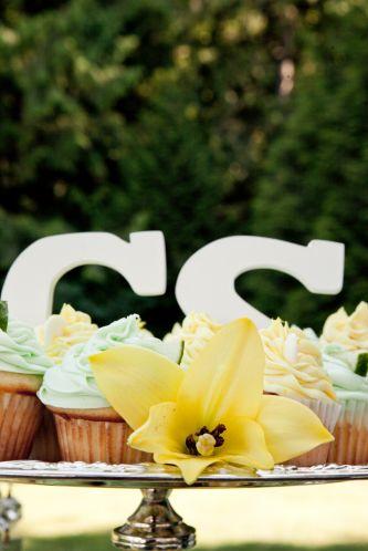 Casual wedding cupcakes monogram wedding reception decor