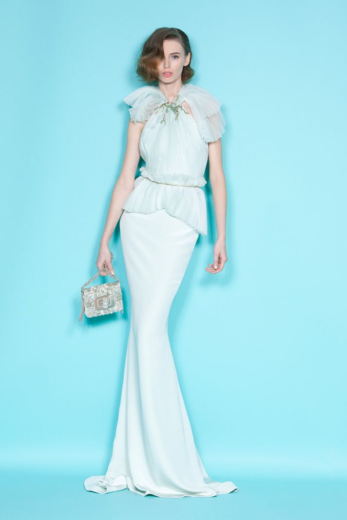 Vintage-inspired white mermaid Marchesa wedding dress