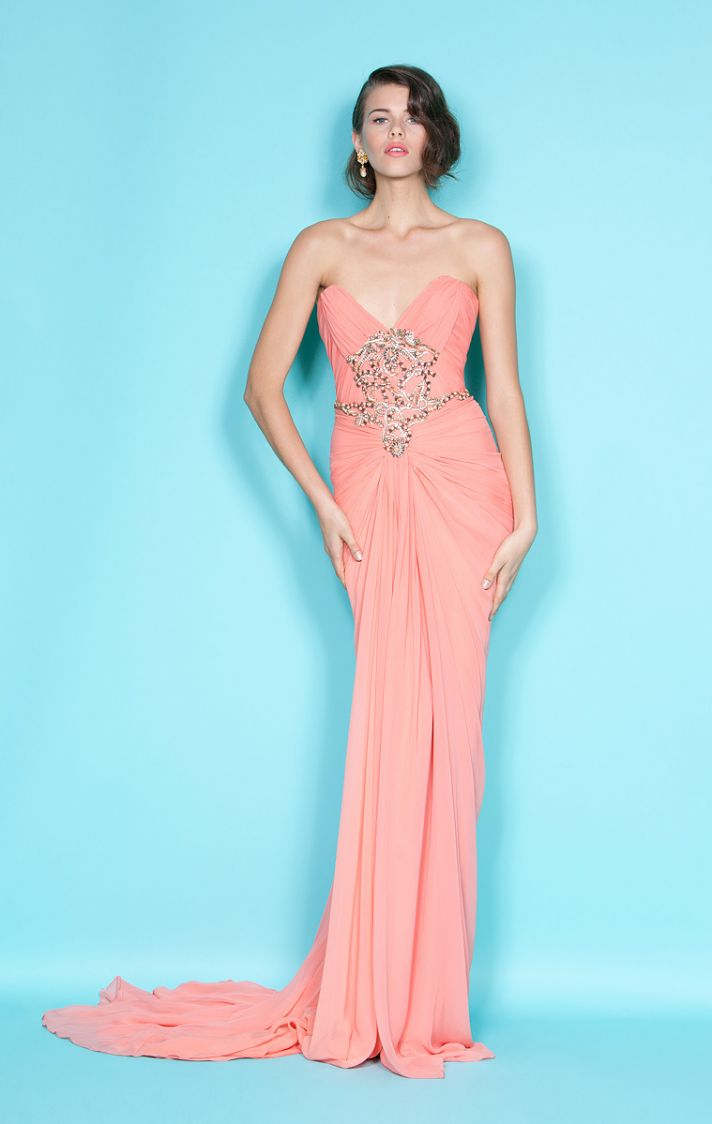 Peach column bridesmaid dress with sweetheart neckline