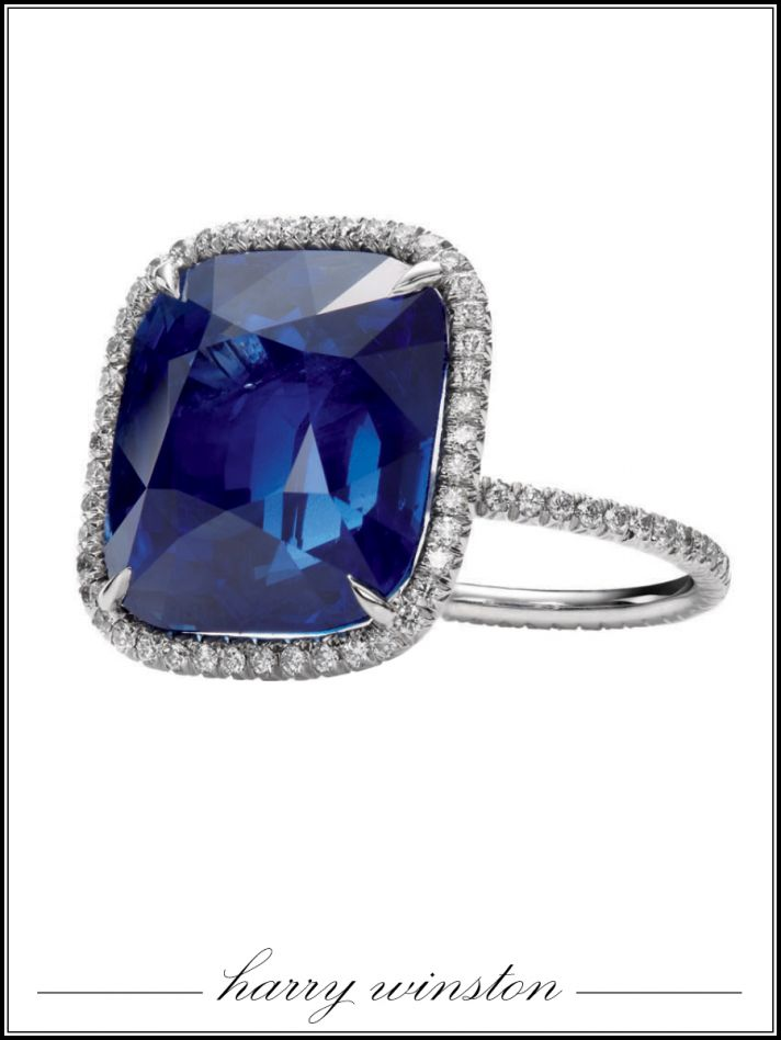 Harry Winston cushion cut sapphire engagement ring