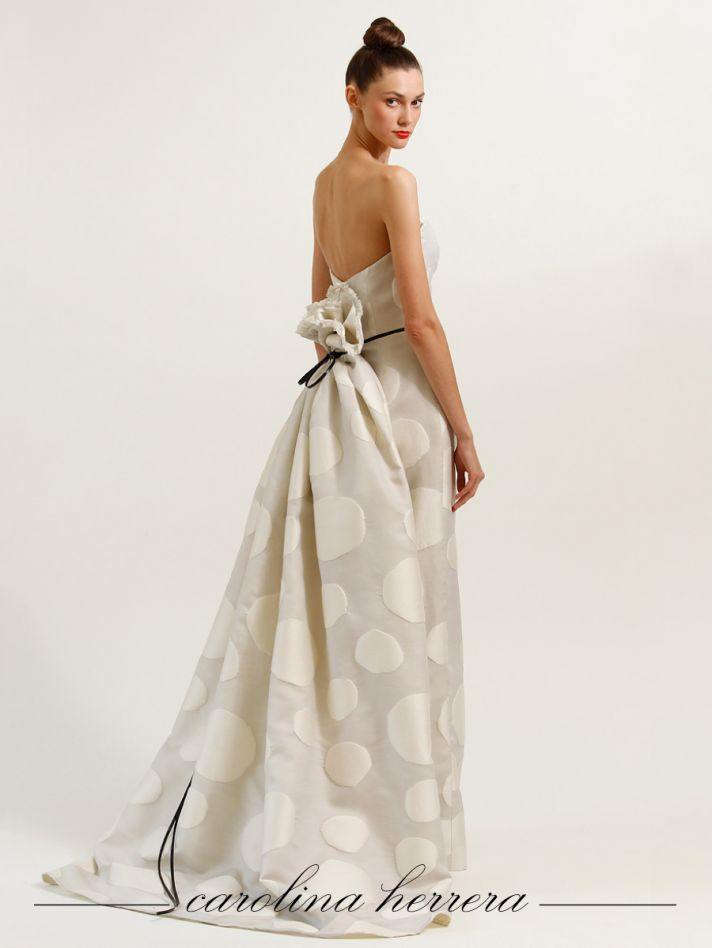 Ivory polka dot Carolina Herrera wedding dress