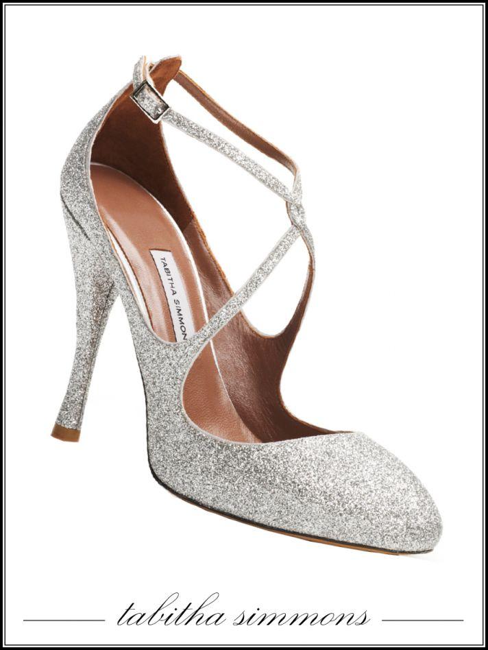Sparkly silver closed-toe bridal heels