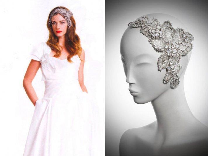 Vintage-inspired crystal-encrusted bridal head piece