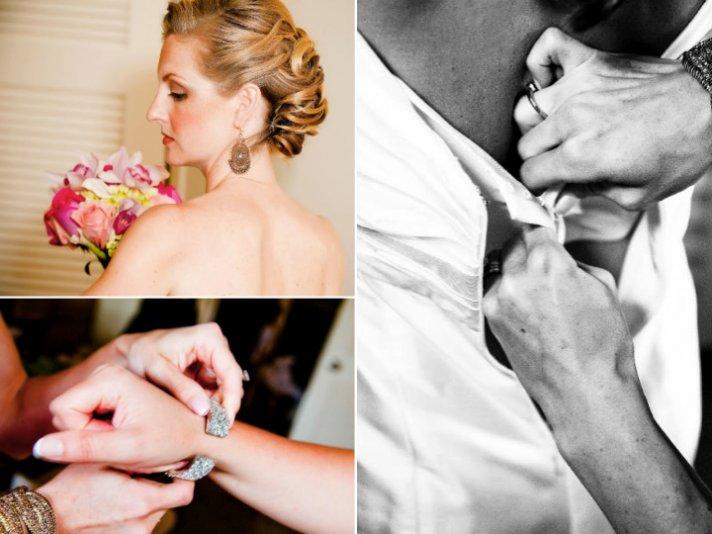 Maid of Honor zips destination bride into mermaid wedding dress