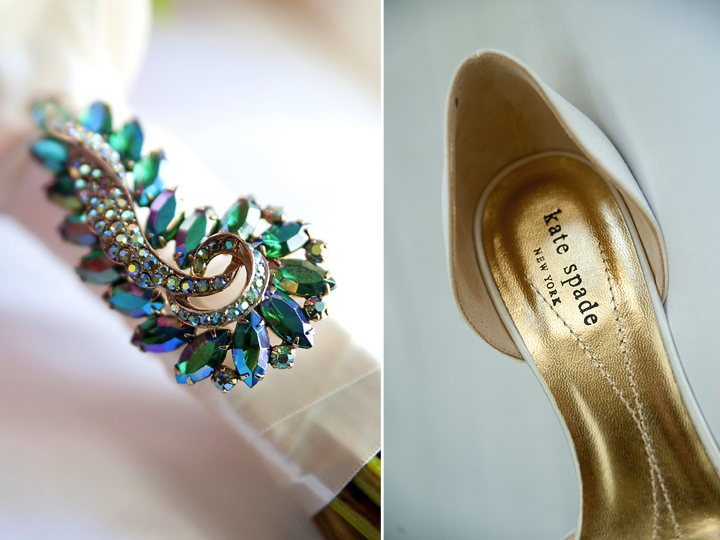 Something Blue brooch on bridal bouquet chic Kate Spade wedding shoes