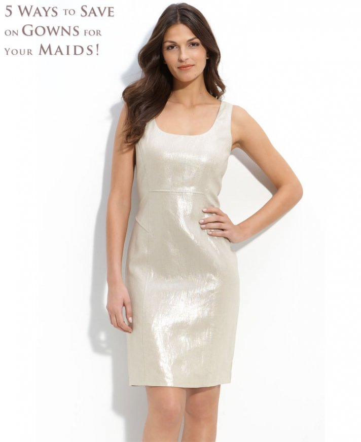 Metallic champagne shift scoop neck bridesmaid dress
