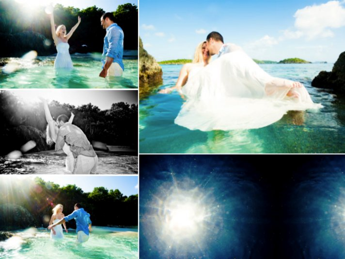 Trash the dress wedding photos in tropical Caneel Bay, St. John