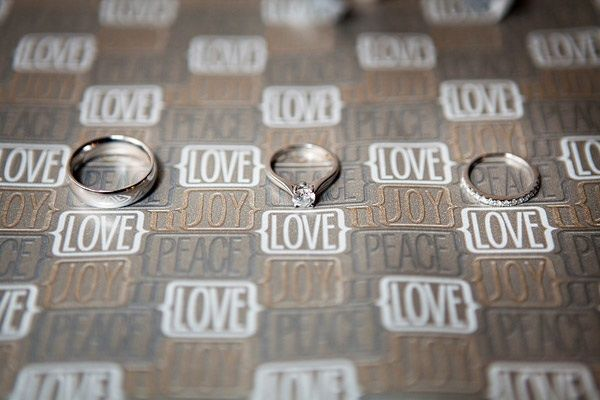 Artistic wedding photography- engagement ring and wedding bands