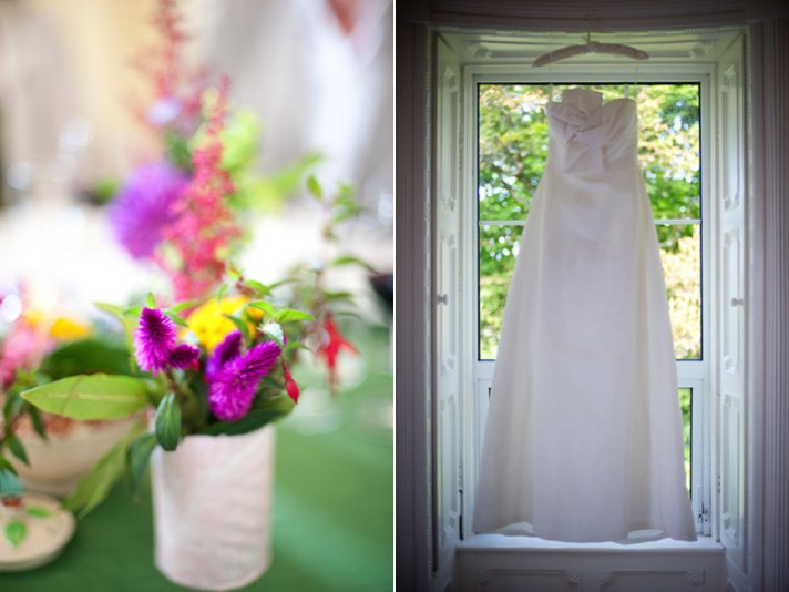 Ivory wedding dress, colorful wedding flowers and reception centerpieces