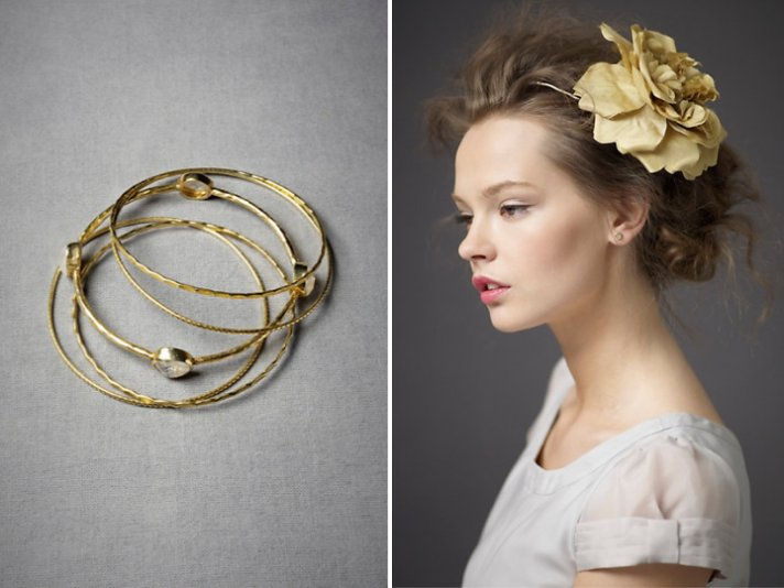 BHLDN bridal bangles and wedding hairstyle accessory for beach brides
