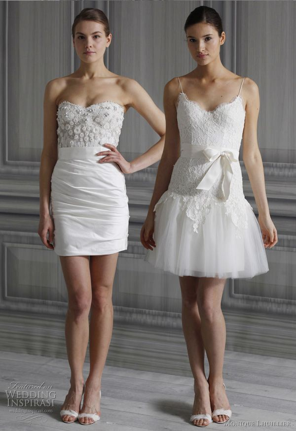 Top trend for 2011 weddings- two wedding dresses! Take the hemline up with Monique Lhuillier
