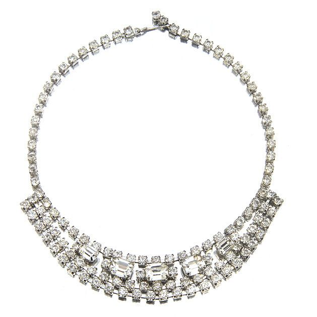 Blinged out vintage bridal necklace
