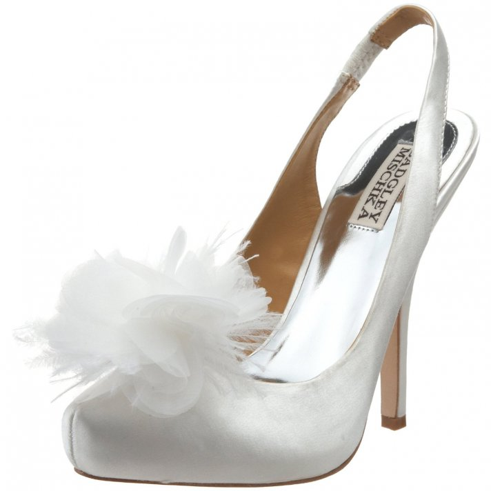 Chic ivory satin slingback wedding shoes with feather detail