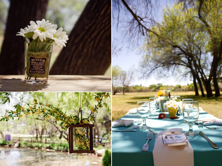 Retrothemed outdoor wedding reception tablescape and wedding flower