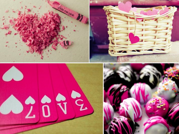 Love-themed purple and pink wedding decor and inspiration