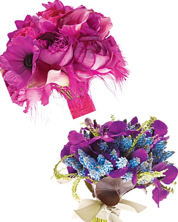 Credit Purple and blue summer statement bridal bouquets via NYMagcom
