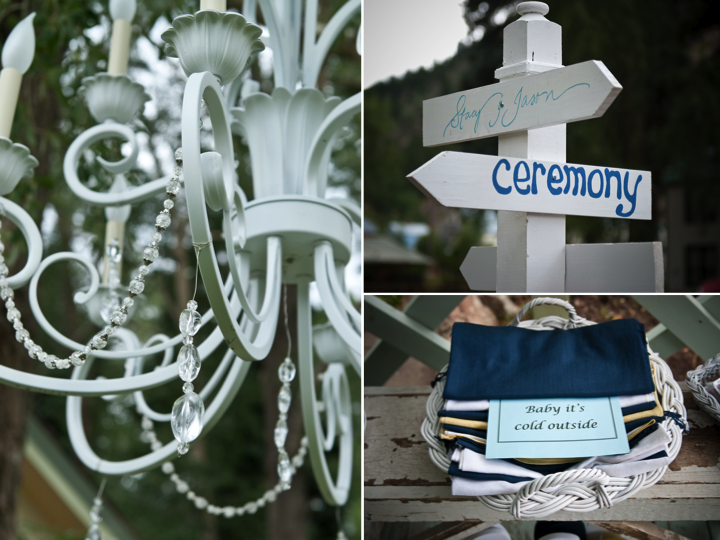 Yellow and navy blue outdoor summer wedding