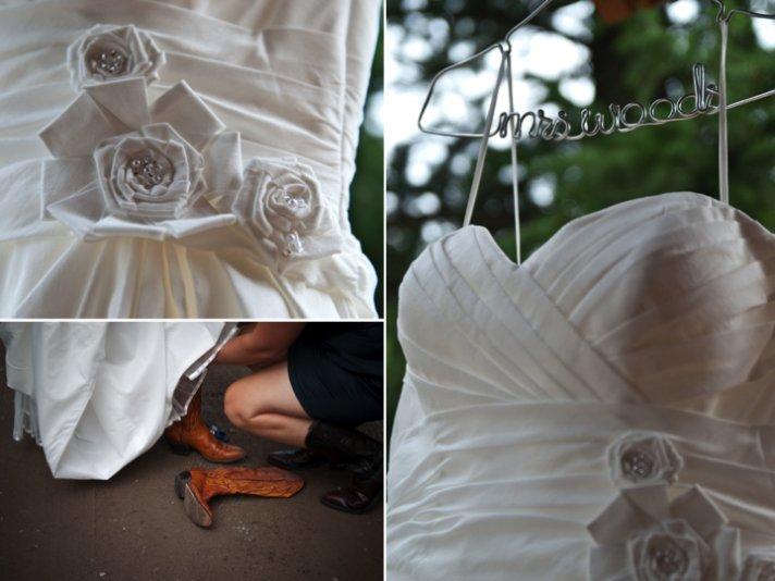 Bride wears white wedding dress, cowboy boots