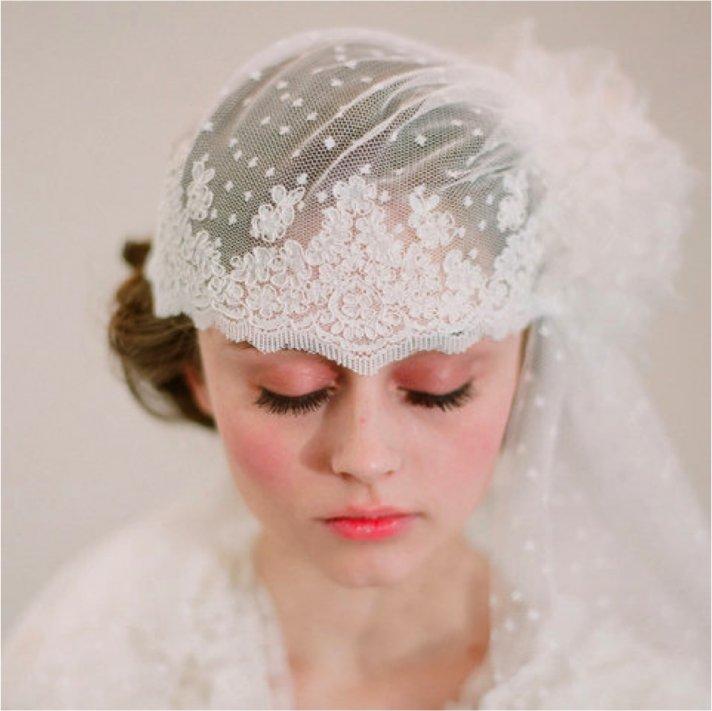 Romantic lace bridal cap for vintage chic brides