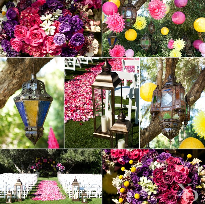 Vibrant whimsical wedding decor