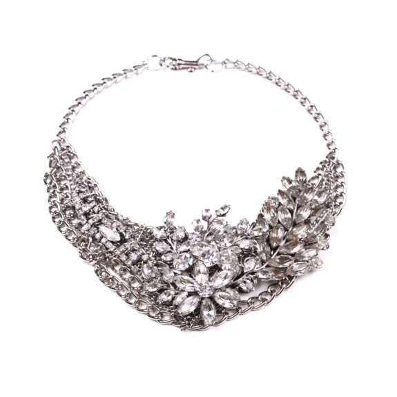 Chunky silver bridal necklace featuring vintage brooches