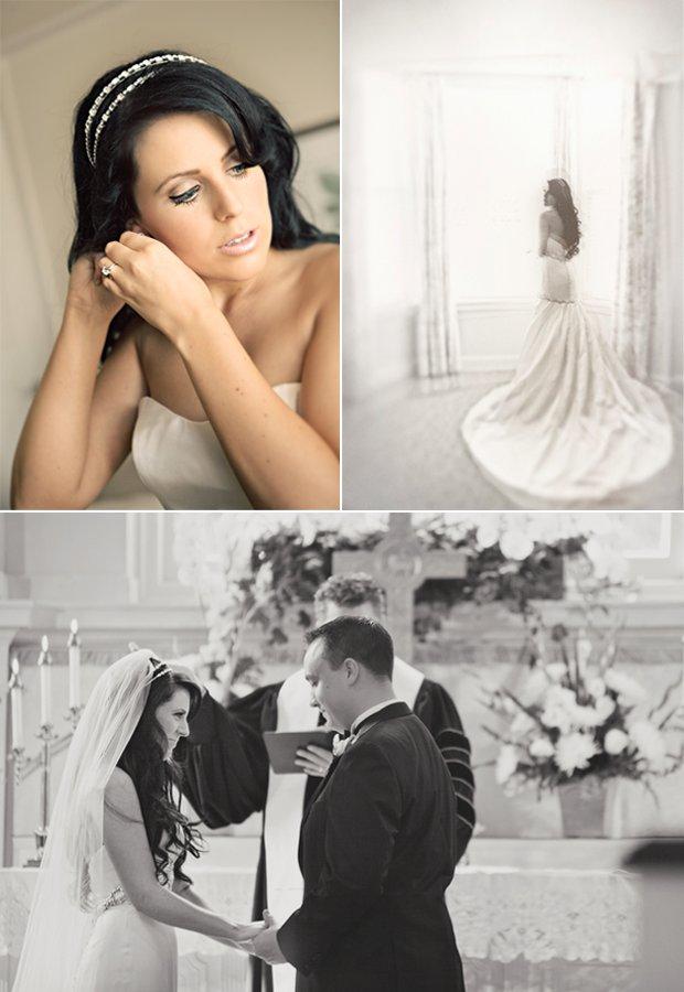 North Carolina bride wears mermaid wedding dress, crystal bridal headband
