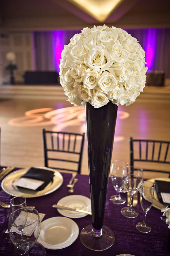 Cylinder centerpieces wedding white natural arch
