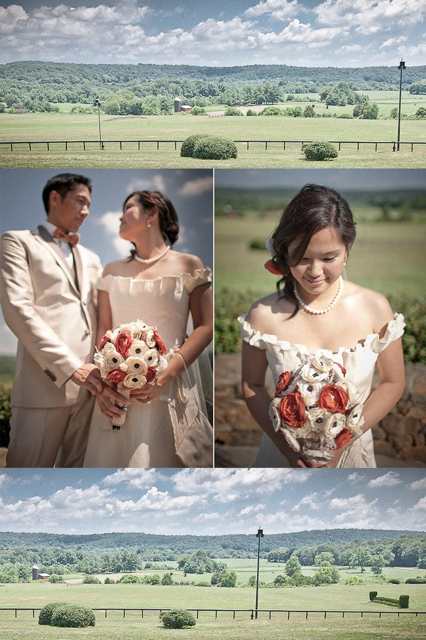 Beautiful Asian bride holds orange and ivory bridal bouquet, wears off-the-shoudler wedding dress