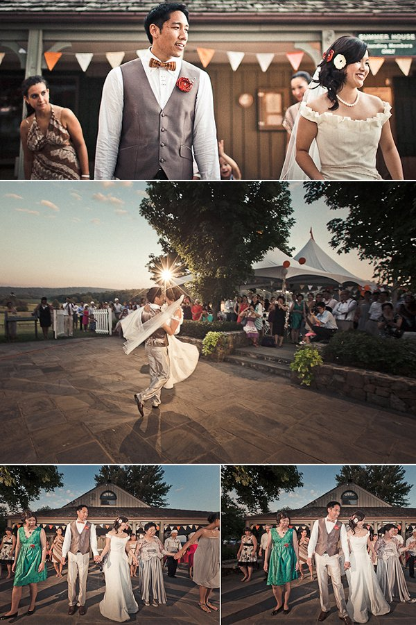 Bride and groom share first dance, dance with wedding guests at outdoor venue