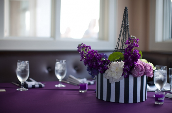 purple-black-ivory-wedding-colors-parisian-themed-wedding-reception-decor-flowers