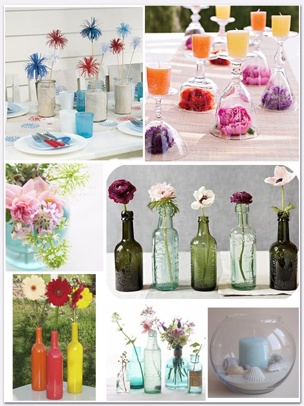 Colorful DIY wedding centerpieces