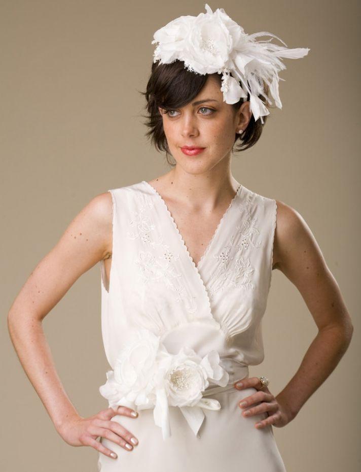 Whimsical white wedding hat