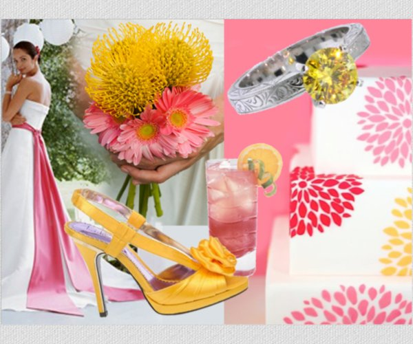 Ring In A Spicy Hot Palette Of Colors That Go With Orange: Summer Wedding Inspiration: Pink Lemonade