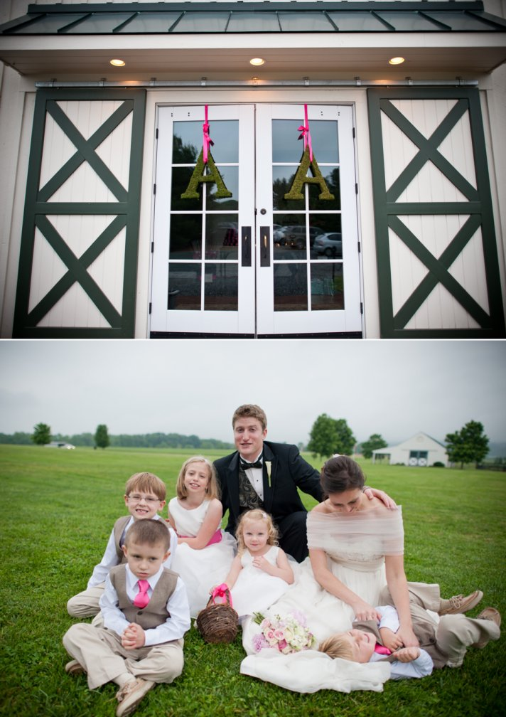 Bride and groom pose with little members of wedding party