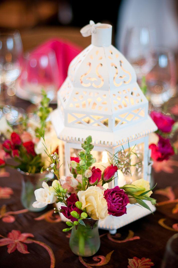 DIY wedding reception centerpiece with pink wedding flowers